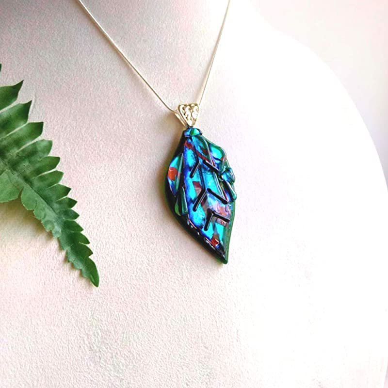Organic shaped glass Necklace 40 mm Organic Jewelry inspired from nature,Green-Orange aesthetic glass pendant dichroic glass handmade