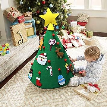 LanLan 3D DIY Fieltro Árbol de Navidad Mejorado Color Vivo Decoración de Navidad para niños pequeños: Amazon.es: Hogar