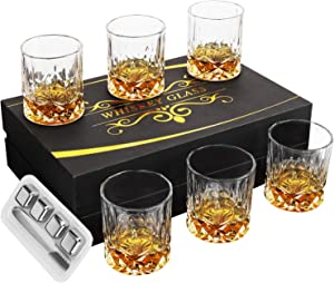 Whiskey Glasses - YUOIOYU Whiskey Glass Set of 6 in Luxury Gift Box, 11 Oz Crystal Rocks Glasses with Stainless Steel Ice Cubes, Liquor Glasses Set for Scotch, Bourbon and Old Fashioned Cocktails