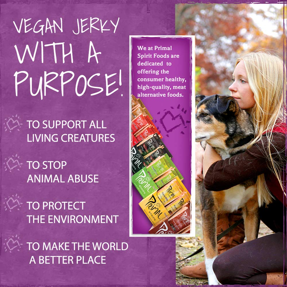 Primal Spirit Vegan Jerky - Our Sampler Pack, 10g. Plant Based Protein, Certified Non-GMO (''The Classics'' Thai Peanut, Mesquite Lime, Teriyaki, Hot & Spicy, Hickory Smoked, & Texas BBQ, 24-Pack, 1 oz) by Primal Spirit Foods (Image #3)