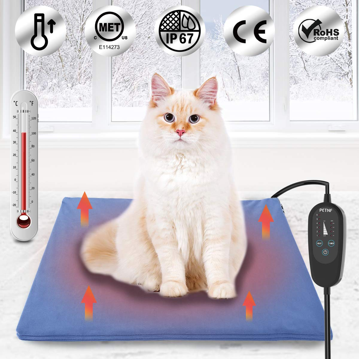 Upgraded Pet Heating Pad for Dogs Cats with Timer,Safety Cat Dog Heating Pad,Waterproof Electric Heated Cat Dog Bed Mat,Heated Pad Dog House Heater,Heated Dog Cat Blanket,Heated Pet Bed Mat