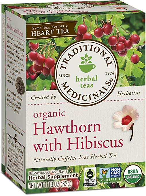 Traditional Medicinals Organic Hawthorn with Hibiscus Tea (formerly Heart tea), 16 Tea Bags