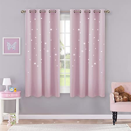 Pony Dance Pink Curtain For Girls Bedroom Curtains With Eyelet Top 46 X 54 Inch For Room Darkening Short Thermal Window Treatment For Energy Saving 2 Panels Light Pink Amazon Co Uk Kitchen