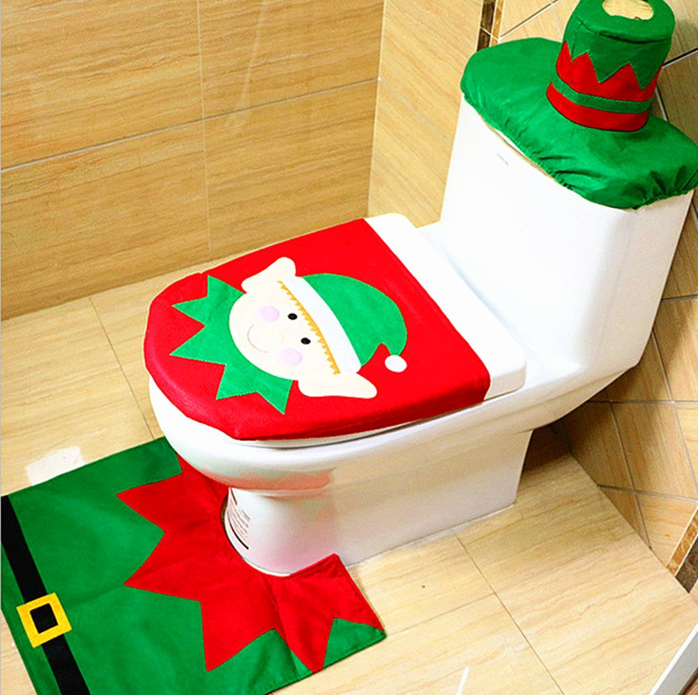 Pleasant Alimitopia Christmas Toilet Set Seat Cover Rug And Tank Lid Cover Xmas Decorative Supplies For Bathroom 1 Set Elf Pattern Theyellowbook Wood Chair Design Ideas Theyellowbookinfo