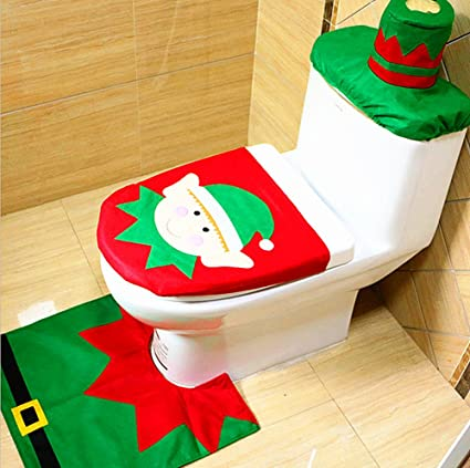 alimitopia christmas toilet setseat cover rug and tank lid coverxmas decorative supplies
