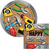 Handyman Birthday Lunch Plates & Napkins Party Kit for 8