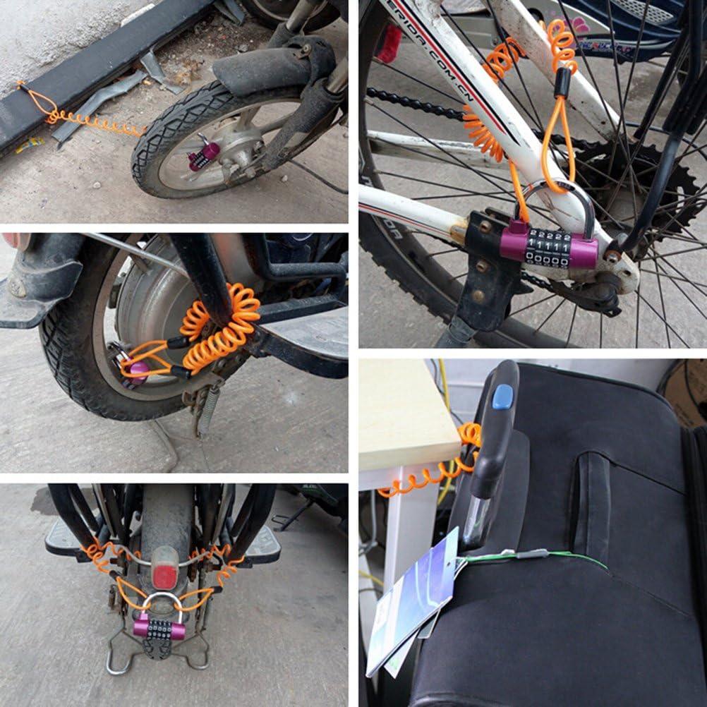 arancione Cavo di sicurezza a doppio anello per il cavo del promemoria della serratura da 3,5 mm attrezzo per cavo di sicurezza per promemoria per blocco scooter Scooter bici moto