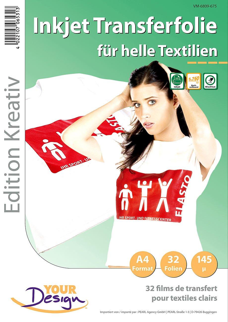 Your Design Transferfolie Textil: 32 T-Shirt Transferfolien für weiße Textilien A4 Inkjet (T Shirt Folien)