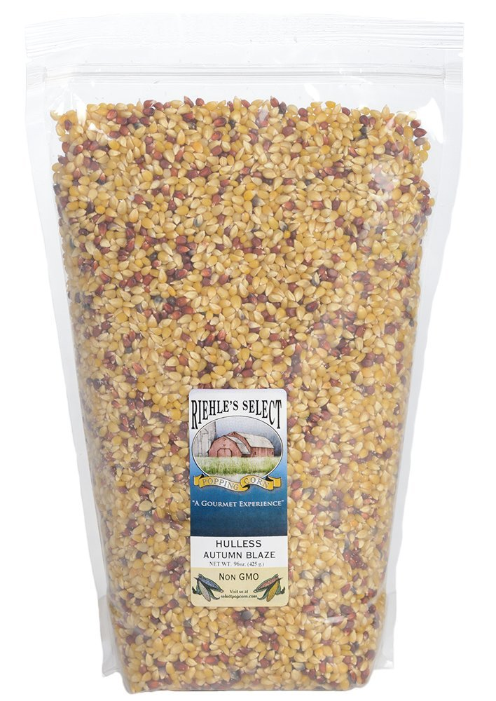 Riehle's Select Popping Corn - Hulless Autumn Blaze Old Fashioned Whole Grain Popcorn - 6lb (96oz) Resealable Bag - Non GMO, Gluten Free, Microwaveable, Stovetop and Air Popper Friendly by Riehle's Select Popping Corn