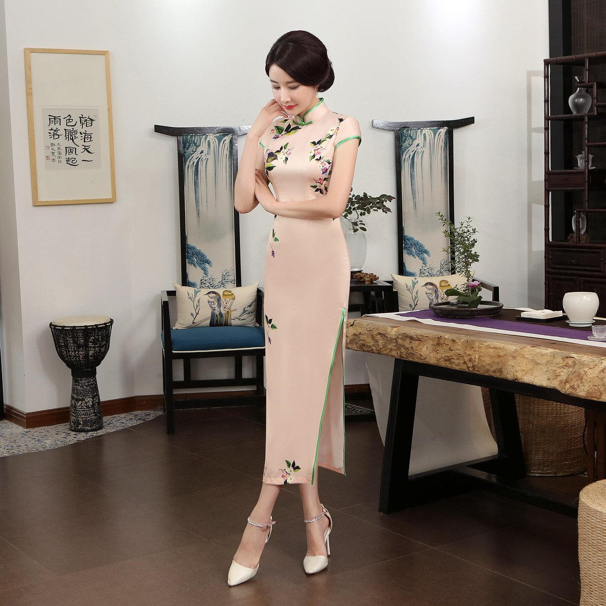 ACVIP Women Cap Sleeve Vintage Chinese Floral Maxi Qipao Side Split Cheongsam (China M/Bust:33.5'') by ACVIP (Image #7)
