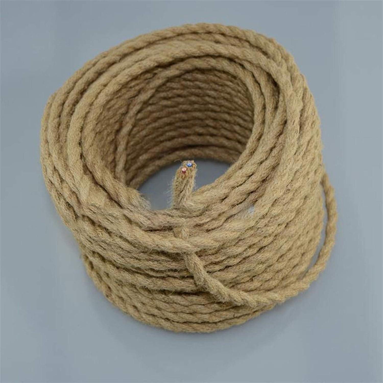 Ztengyu-Cable metálico Cuerda eléctrica torcida de la Cuerda, Cuerda de cáñamo Tejido Alambre Textil, Cable Trenzado Trenzado Retro Colgante de Cable de luz 2 * 0.75mm Ampliamente Utilizado