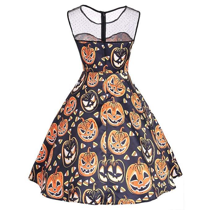 Plot Damen Halloween O Ausschnitt Drucken Ärmellos Vintage Party ...