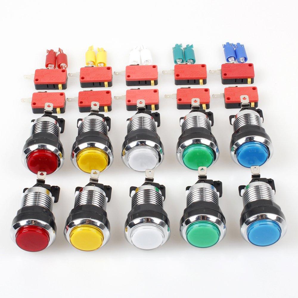 EG STARTS 10 x Arcade Chrome LED Leuchtdrucktasten Mit 4,8mm ...