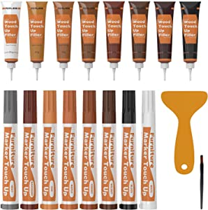 REALINN Wood Furniture Repair Kit 8 Dark Colors- Wood Fillers and Touch Up Markers, Repair Scratch, Cracks, Discoloration for Wooden Door, Floor, Table, Cabinet