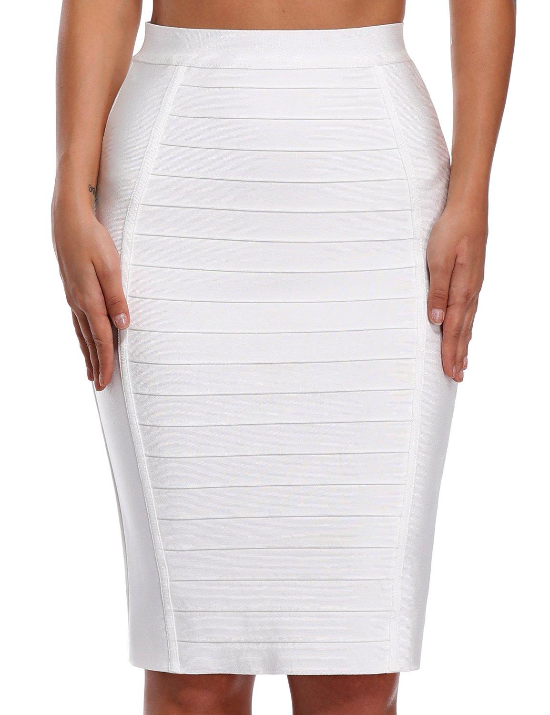 Bqueen Women's Wear to Work Bodycon Bandage Skirt Knee Length BQ11863 (White, XS)