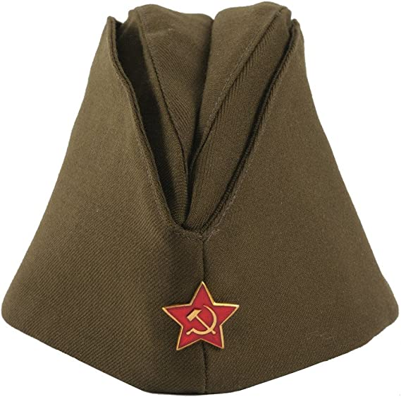 Russian Army Pilotka Garrison Cap with Soviet Red Star