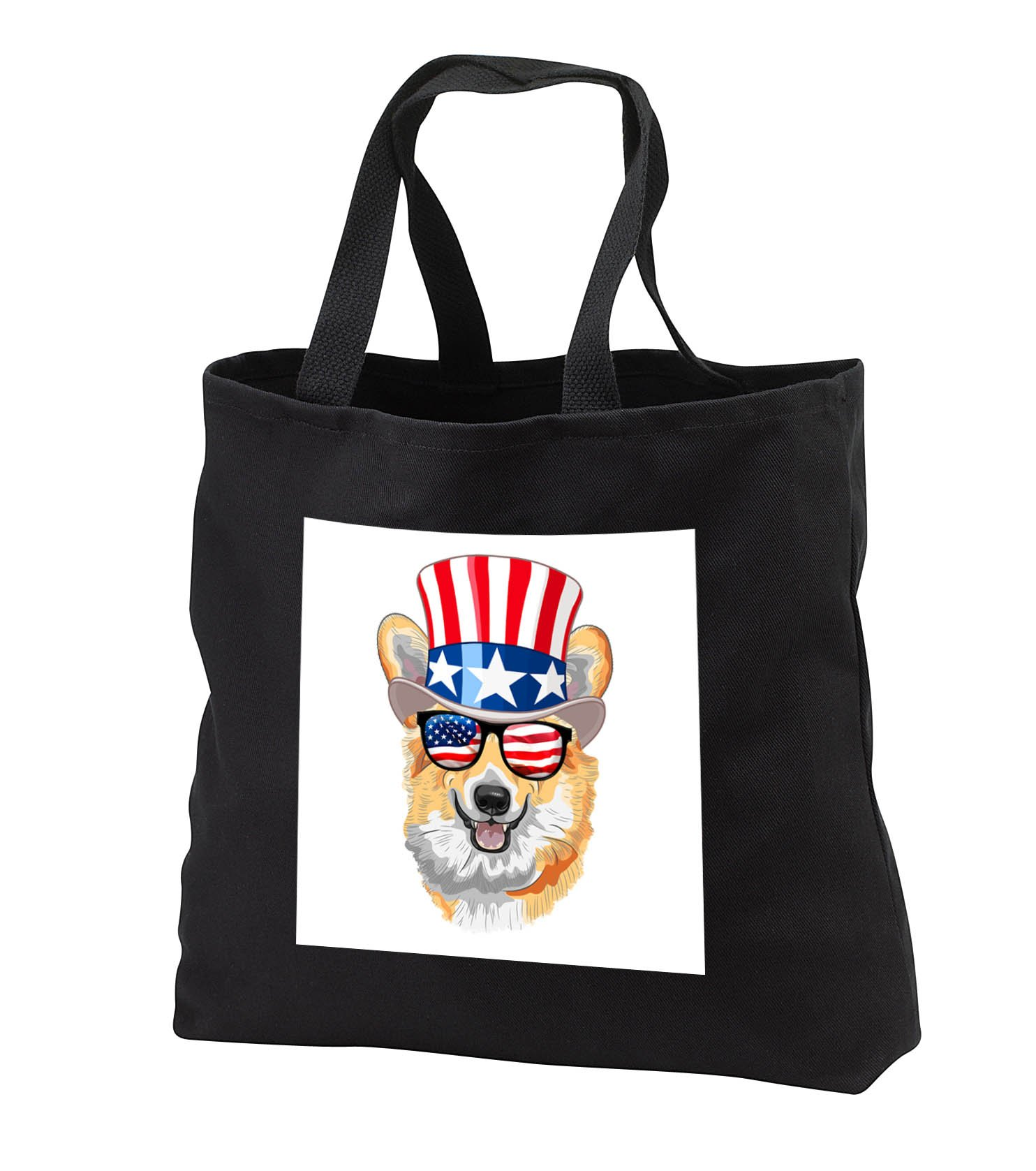 Patriotic American Dogs - Corgi Dog With American Flag Sunglasses and Top hat - Tote Bags - Black Tote Bag 14w x 14h x 3d (tb_282707_1)