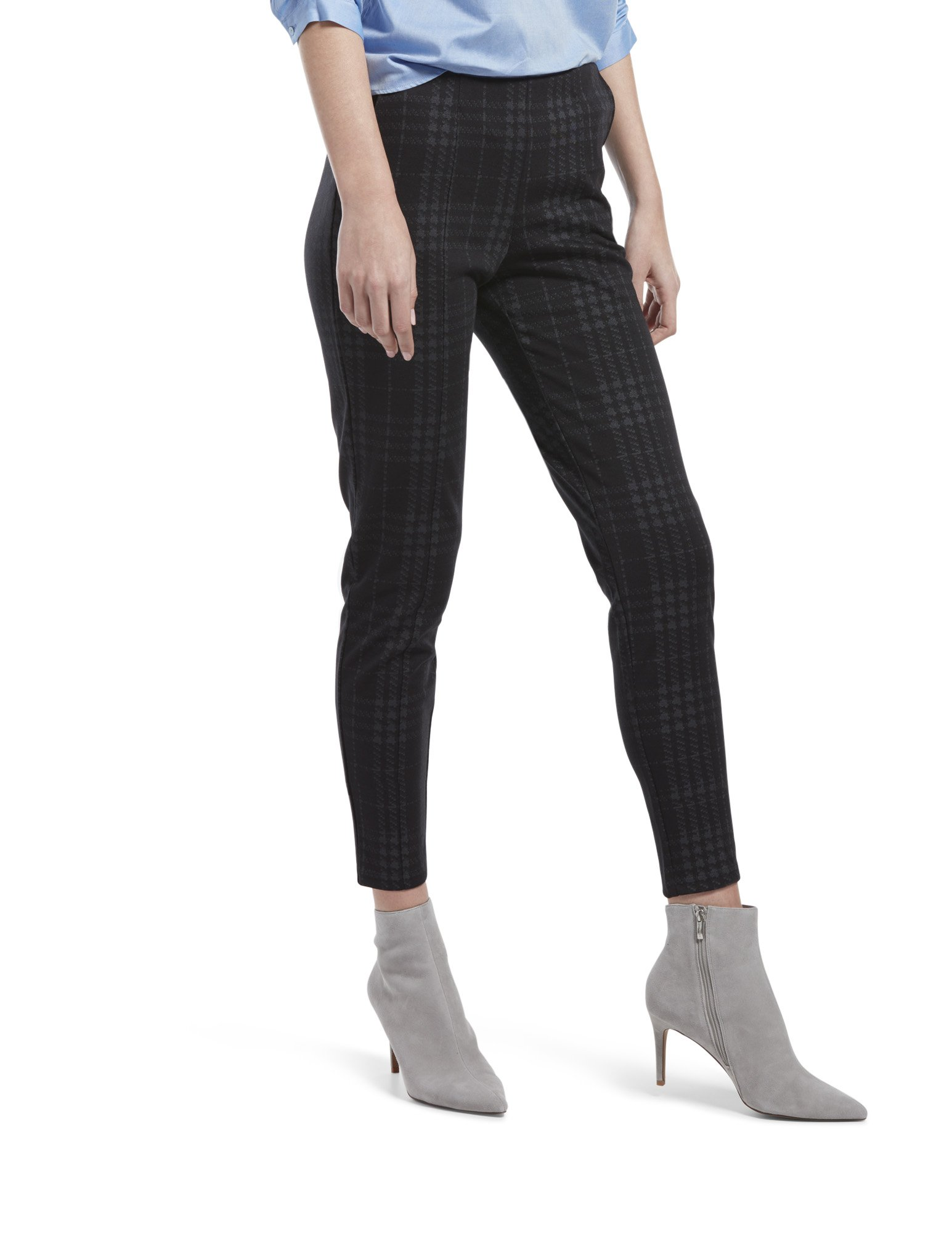 HUE Women's Plus Size Seamed Luxe Ponte Skimmer Legging, Black - Printed Plaid, 1X by HUE