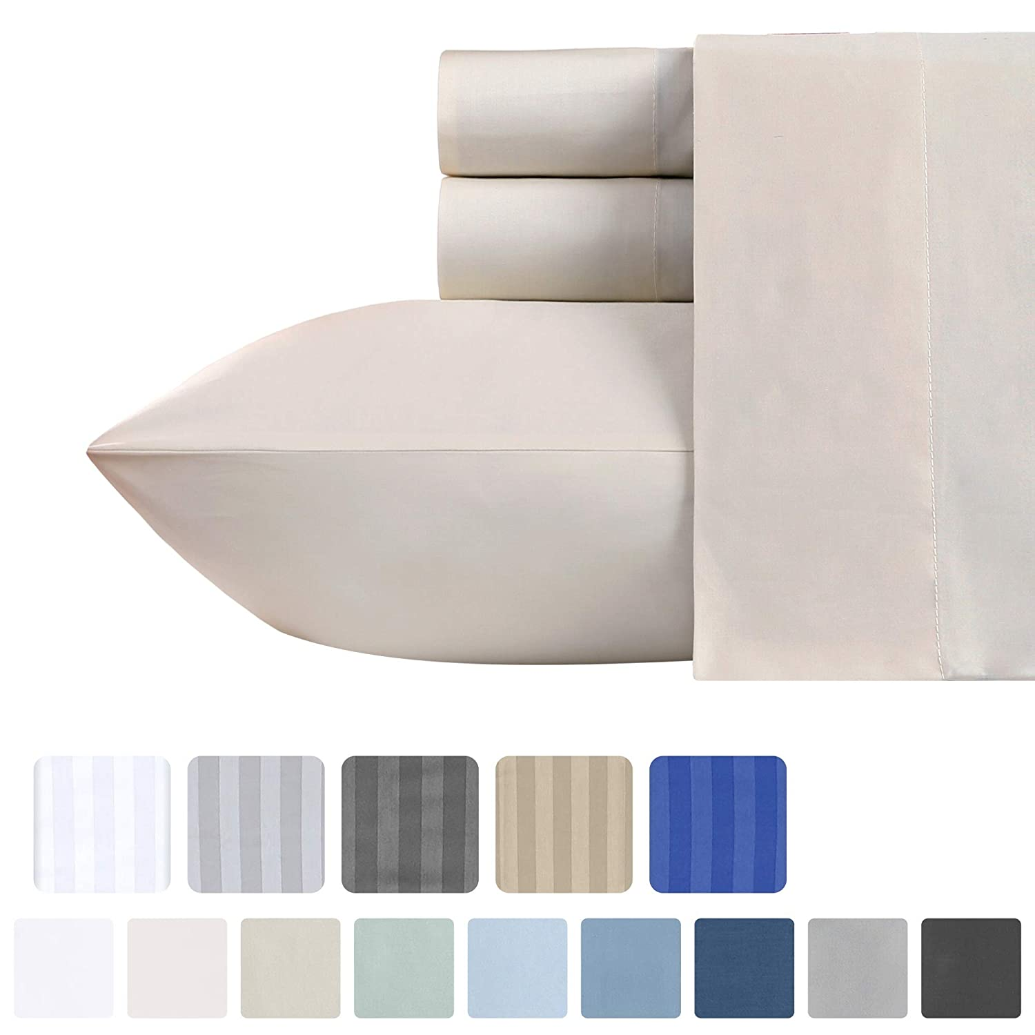 California Design Den 500-Thread-Count Cotton Sateen King Sheets - 4 Piece Solid Ivory Bed Sheet Set, Fade Resistant Smooth Breathable Bed Set, Deep Pocket Fits Mattress Upto 18 Inches