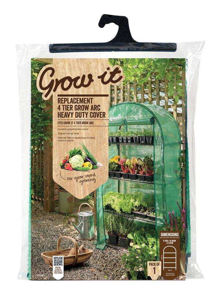 Grow It 08948 45 x 80 x 160 cm Replacement 4-Tier Grow Arc Heavy Duty Cover - Green Gardman Ltd
