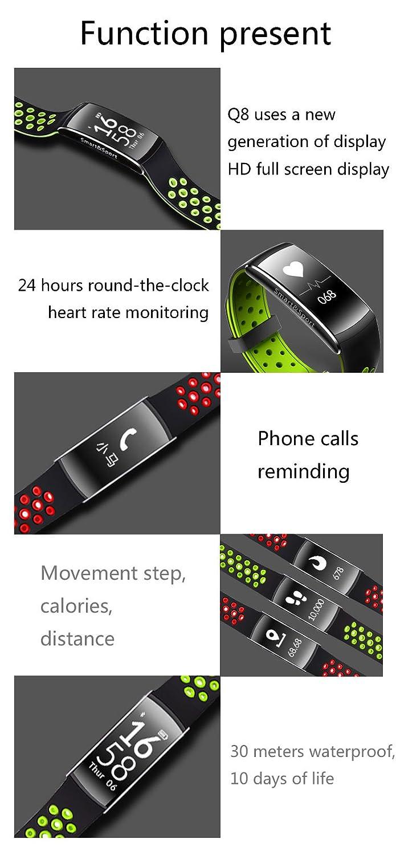 smartwatch Resistente Al Agua Impermeable Ip68 Bluetooth Bluetooth 4.0 Reloj Inteligente Fitness Tracker Q8 Waterproof Sensor De Ritmo Cardíaco Pulsera ...