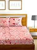Urban Space - Serene Summer Collection 200 TC 100% Combed Cotton Double Bedsheet with 2 Pillow Covers,Floral (Floral Peach, Double)
