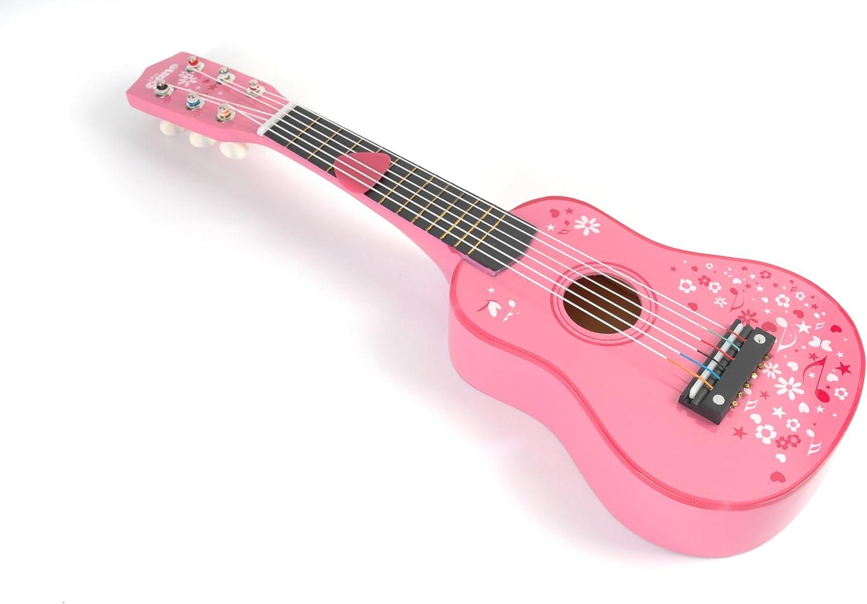 Tidlo T-0057 - Guitarra pequeña de Madera, Color Rosa