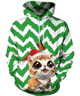 37a952419 Gludear Unisex 3D Ugly Christmas Pattern Pullover Novelty Hoodies Sweatshirt  Outwear
