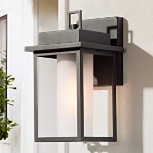 LALUZ Rectangle Outdoor Light Fixtures Wall Mount, Farmhouse Sanded Black Exterior Light Fixture with Frosted Glass, Hollow Weather Proof Porch Light for Front Door, Entryway, Patio, Garage, Yard