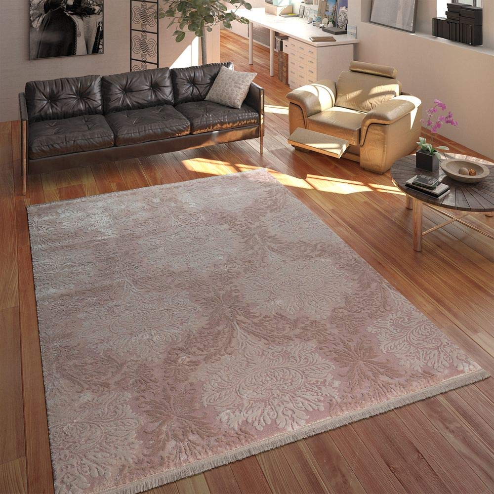 Paco Home Designer Acryl Teppich Hochwertig Edel Modern Barock 3D Effekt Floral Rosa, Grösse 80x300 cm