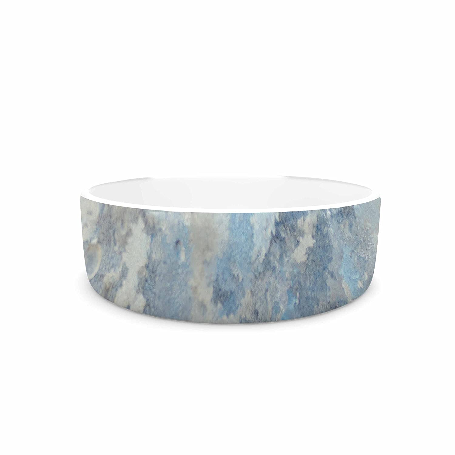 KESS InHouse Chelsea Victoria Frosted Marble bluee White Photography Pet Bowl, 4.75  Diameter