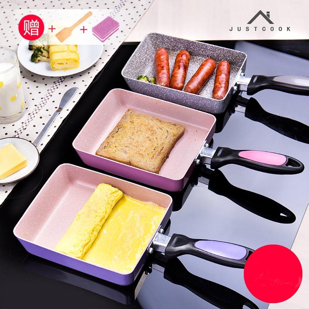 Beschichtete Omelette-Pfanne Pink japanisch gerollt Omelet Pan Rechteckige Tamagoyaki-Ei Pfanne