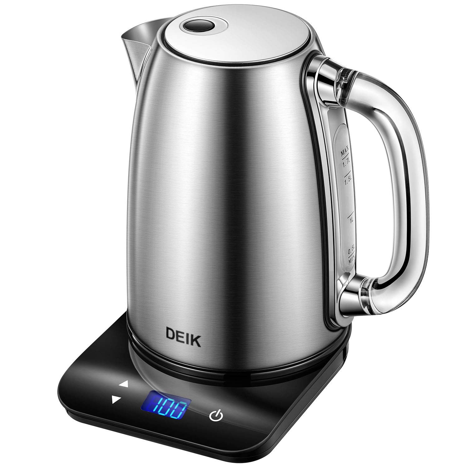 Deik Electric Kettle Temperature Control, 1.7L Kettle 304 Stainless Steel with LED Touch Base and Acrylic Handle, Memory Function, 1500W, Auto Shut-Off Function and Boil-Dry Protection, BPA-Free