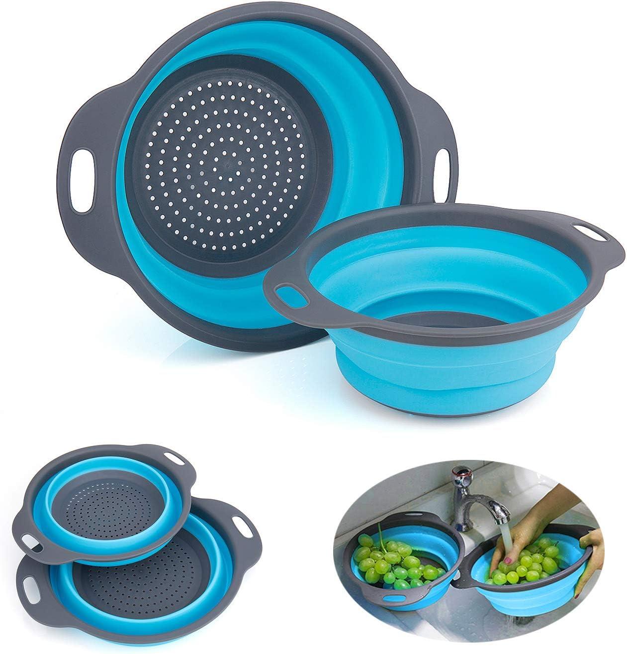 WolinTek Coladores Cocina,2 Tamaños Cocina Plegable Colador de Silicona, Respetuosos del Medio y Ambiente Fácil de Limpiar para verduras,brócoli,espaguetis,ensalada, etc (azul)