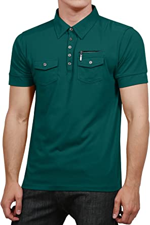 NE PEOPLE Mens Casual Solid Short Sleeve Double Pocket Polo Shirt