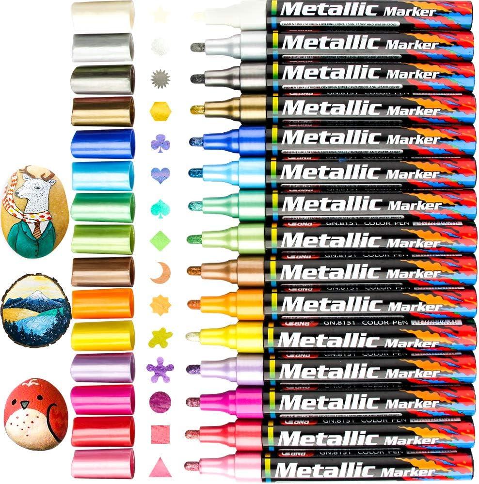10 Colors Set Paint Marker Pens Metallic Sheen Glitter Calligraphy Arts Album RW