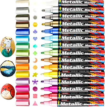 6 Colors Metallic Paint Marker Pens Metallic Sheen Glitter Calligraphy Arts Tool