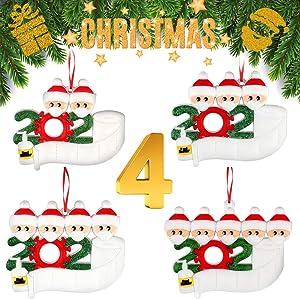 Christmas Personalized Family Name Ornament Kit,Christmas Tree Decoration Pendant,2020 Upgrade Hanging Ornament Set,Drop,Decorative Kit of 1-7 Family Name,Xmas Home Decor Gift (2-3-4-5, 4 pcs totally)