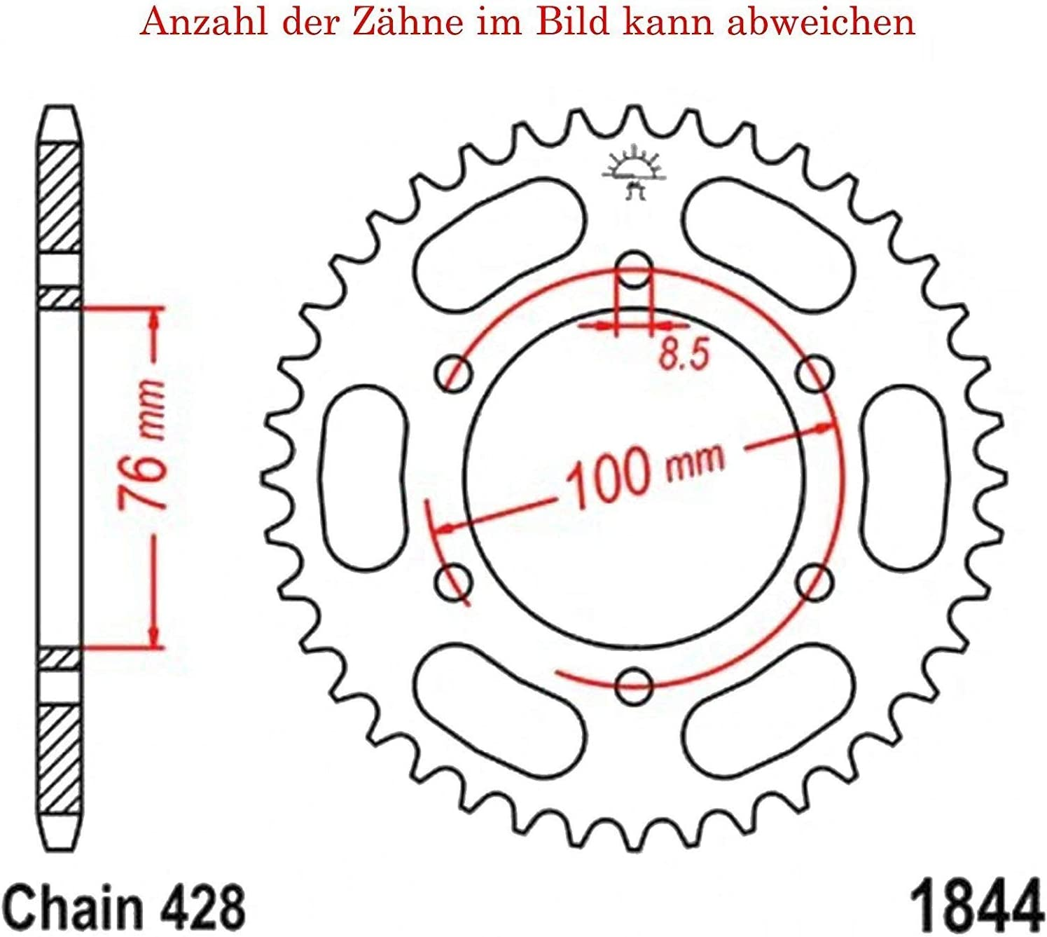 Sprocket with 48 Teeth for MT 125 a ABS 2015-2016 by JT