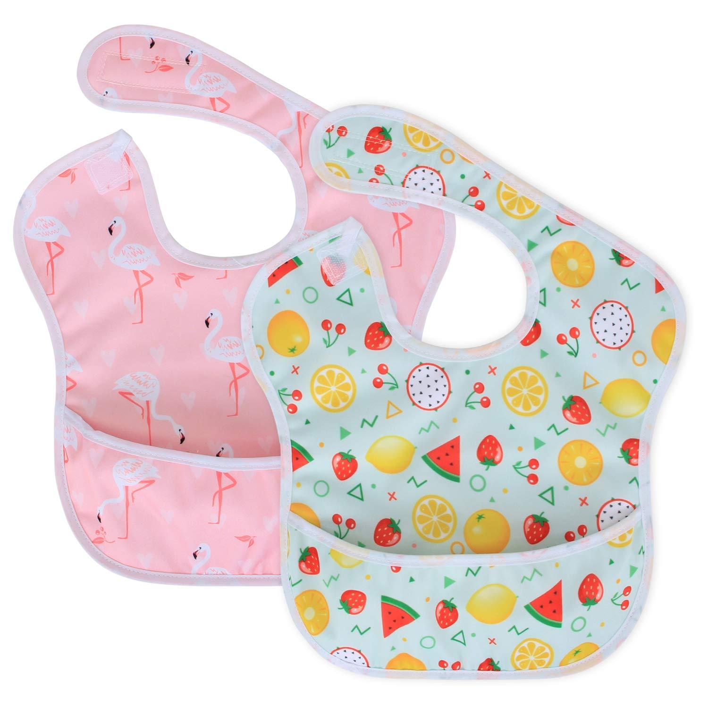2 Paquetes Baberos de Beb/é Lavables para Ni/ños Peque/ños Estrella Avion 6-24 Meses Luxja Baberos Impermeables Bebe