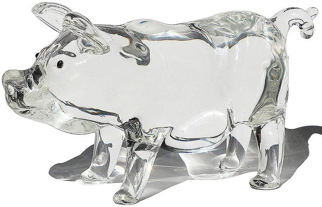 Waltz&F Crystal Glass Clear Pig Figurine Paperweight Fengshui Glass Craft Home Decoration