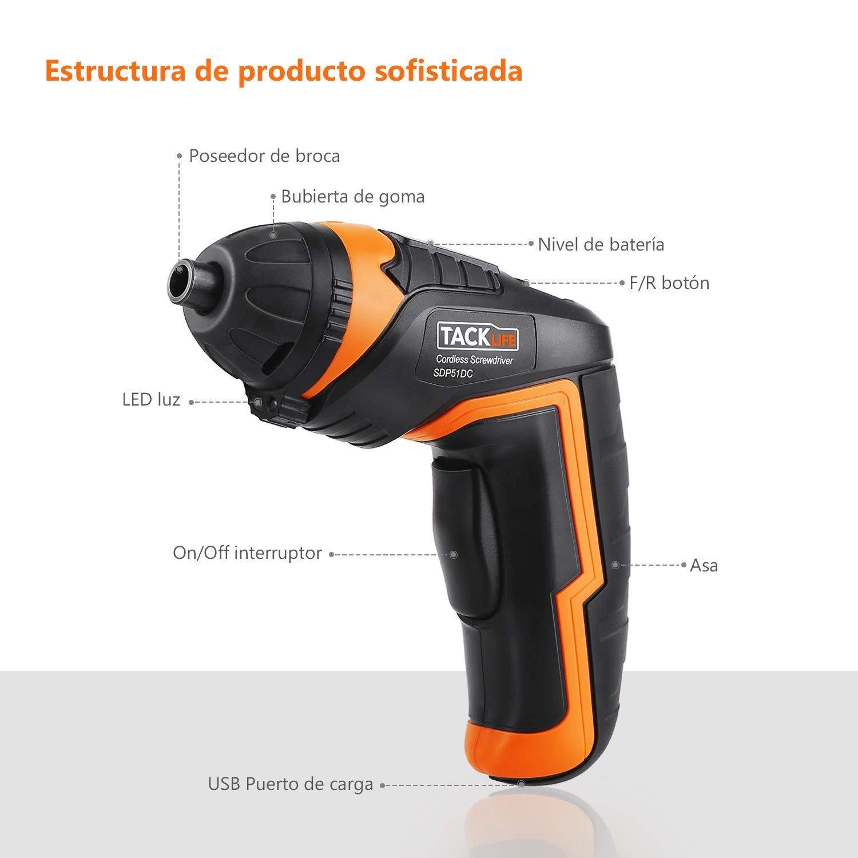 Destornillador Eléctrico Inalámbrico, Tacklife SDP51DC Atornillador Pequeño Recargable, 33 Accesorios (Incluye Adaptador de Ángulo y Broca)Máximo ...