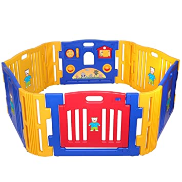 LAZYMOON Baby Playpen Kids 6+4 Panel Safety Play Center Yard Home Indoor  Outdoor Game