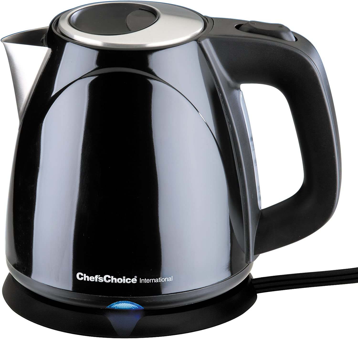 Chef sChoice 673 Cordless Compact Electric Kettle Features Boil Dry Protection Auto Shut Off Easy Pour, 1-Liter, Black