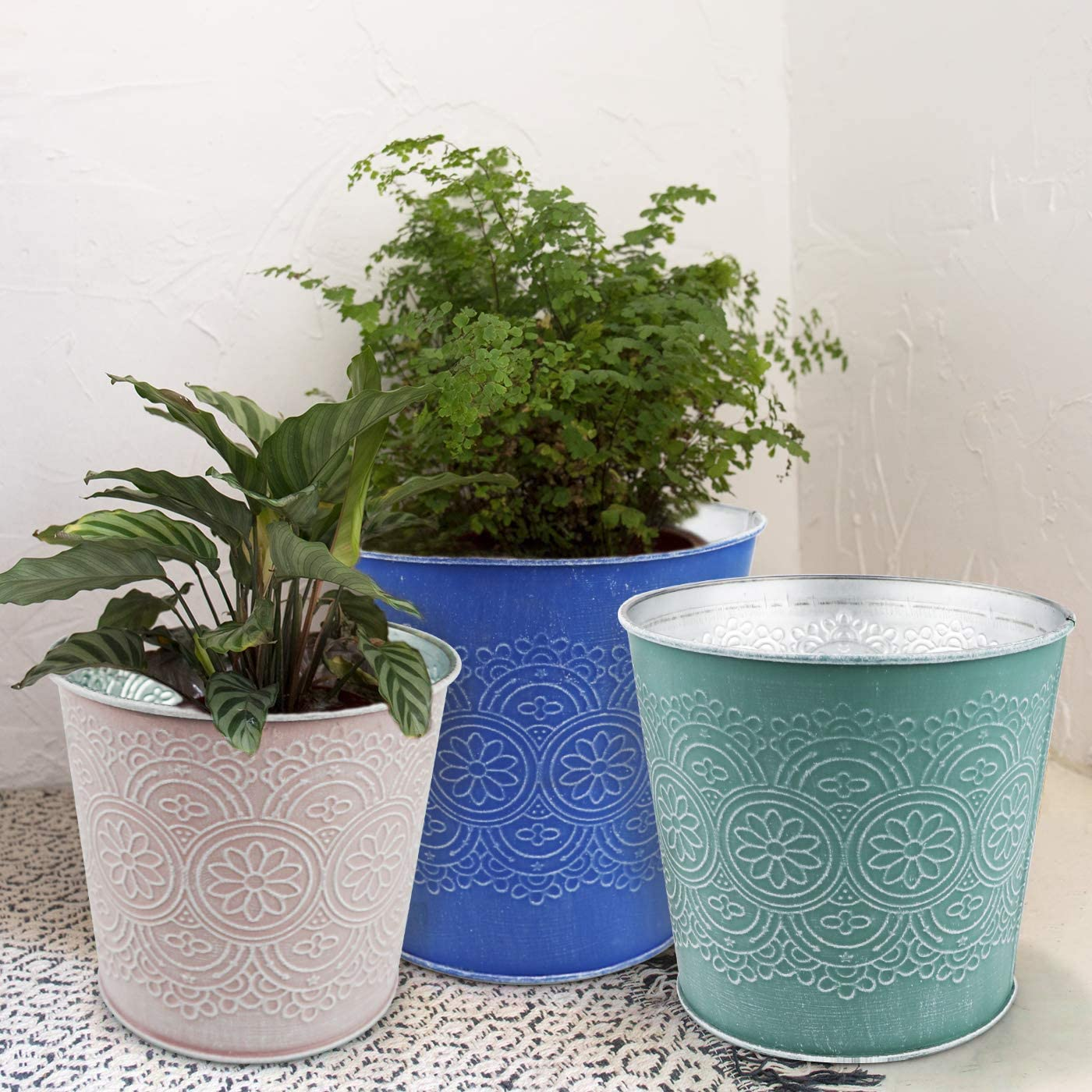 Plant Pots for Plants - Set of 6 Indoor and Outdoor Galvanized Metal Planter Flower Pot for Office Decor and Patio Garden