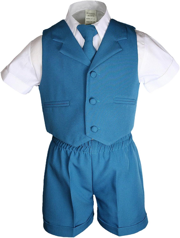 3T Unotux Silver Boy Infant Baby Formal Eton 4 pc Vest Shorts Suit Size S-4T