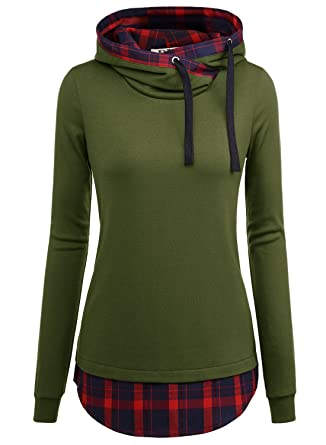 941523937347 DJT Women s Funnel Neck Check Contrast Pullover Hoodie Top Medium Army Green