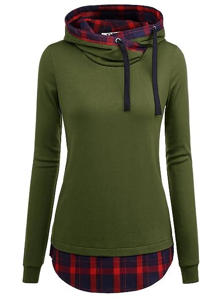 DJT-Sudadera para Mujer con Capucha Estampado de Cuadros Verde Medium