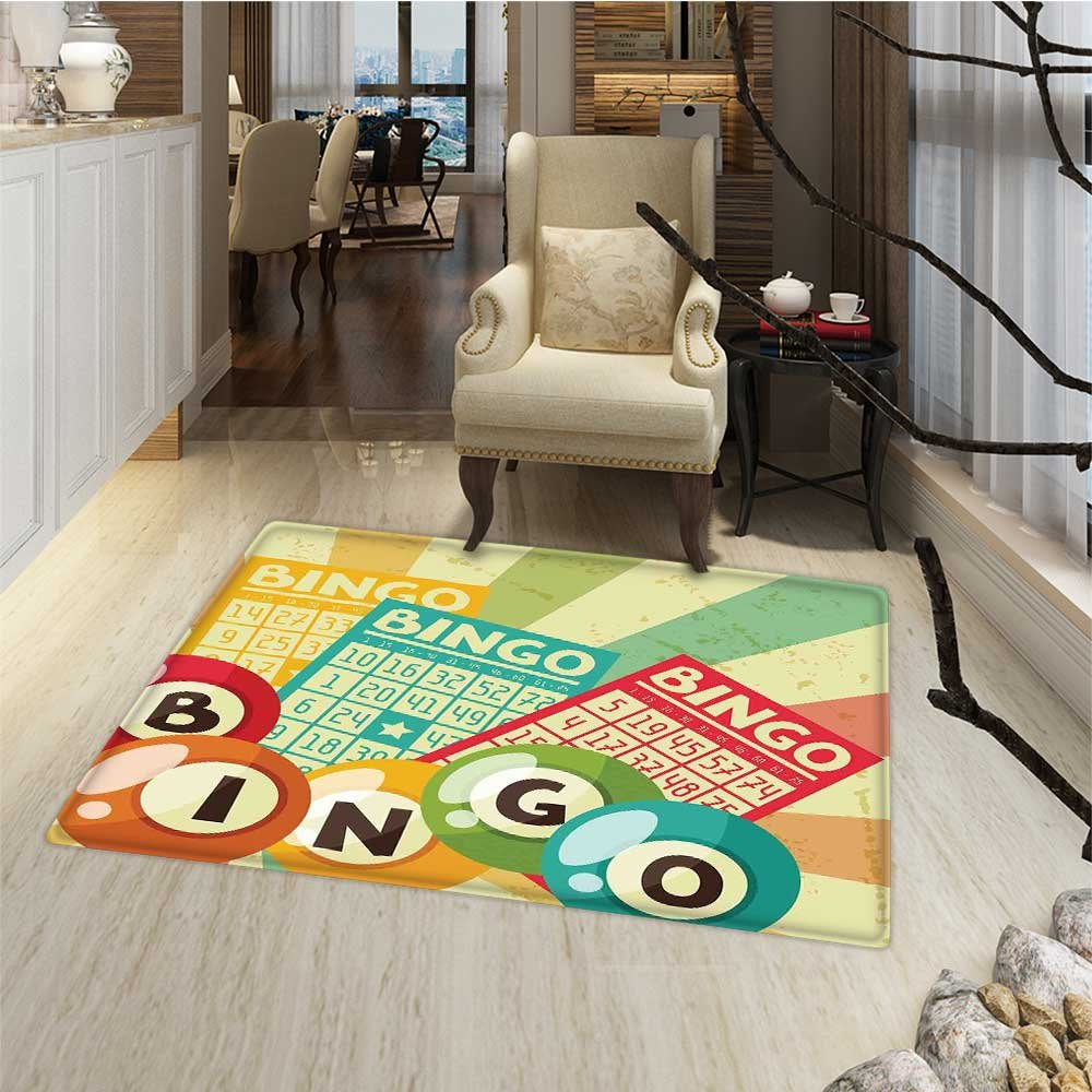 Vintage Door Mats AreaRug Bingo Game with Ball and Cards Pop Art Stylized Lottery Hobby Celebration Theme Door Mat Increase 30''x48'' Multicolor