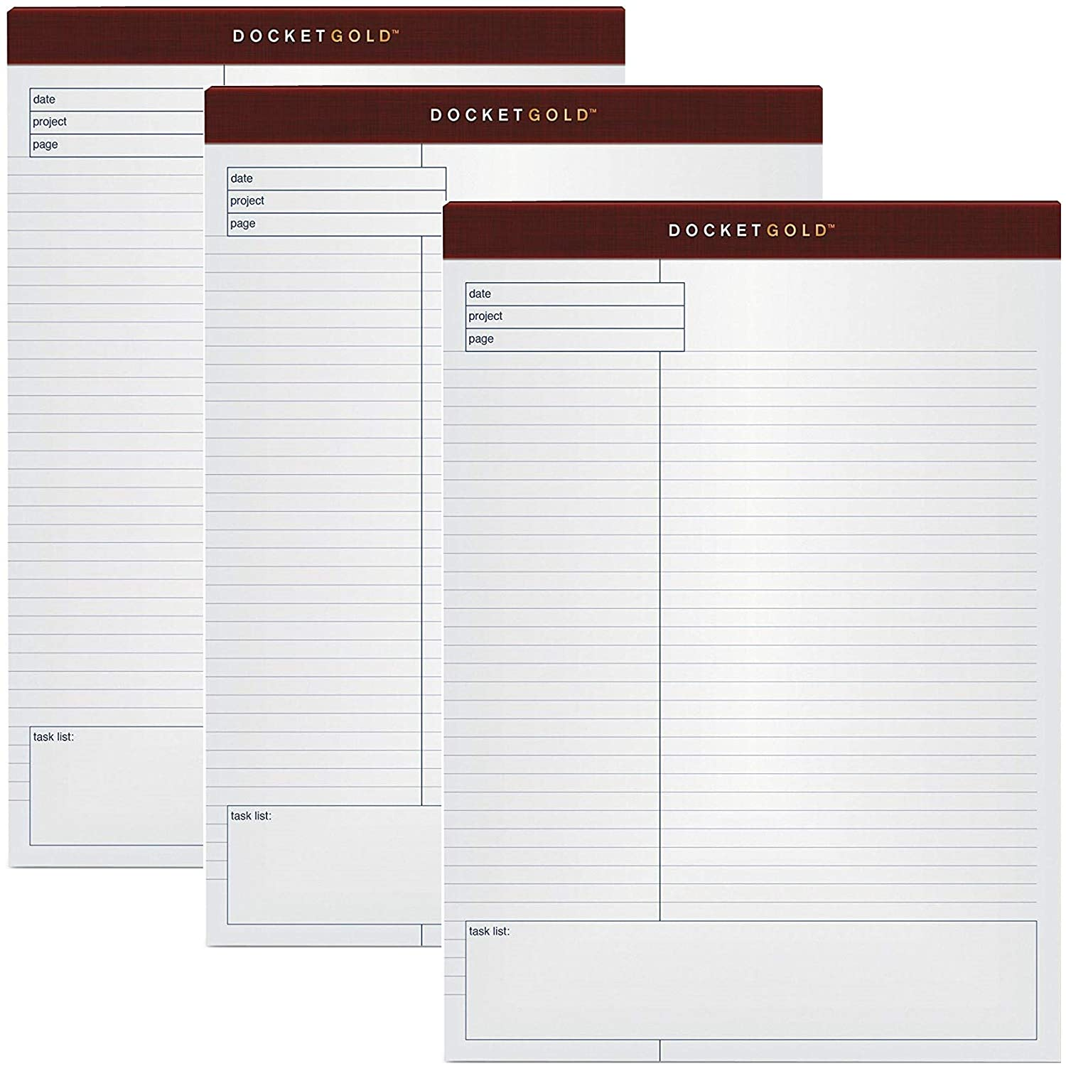 12 Pads per Pack TOPS Docket Gold Planning Pad 40-Sheet Pads Wide Rule White 8.5 x 11.75 Inches